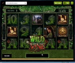 Vi valgte et av de høyeste nivående med 25 gratis spinn og Wild Wine. Wild Wine er en wild-funksjon som kommer tilfeldig og ekspanderer seg utover skjermen.